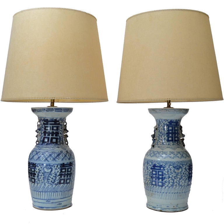 Chinese Blue Grey Pottery Table Lamps with Original Shades, Pair For Sale
