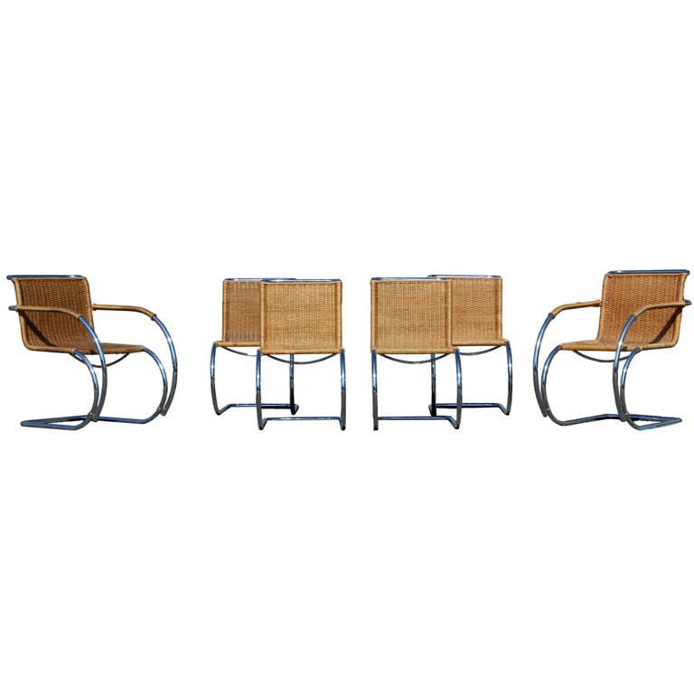 Mid-Century Modern Mies van der Rohe Stendig Cane Chrome Set of Dining Chairs