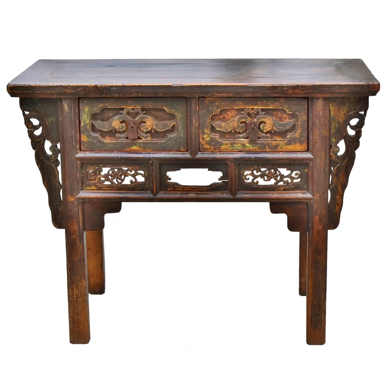 19th Century, Carved Table, Chinese Antique Table With Peony