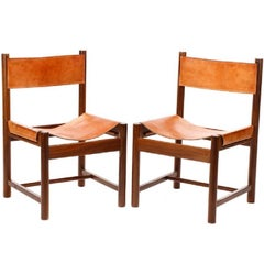 Pair of Michel Arnoult Wood and Leather Chairs