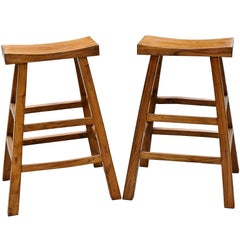 Pair of Asian Solid Elm Wood Bar Stools