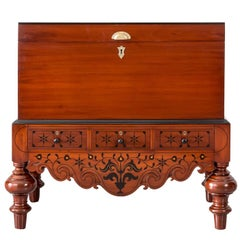 Antique Indo-Dutch or Dutch Colonial Mahogany and Ebony Chest on Stand