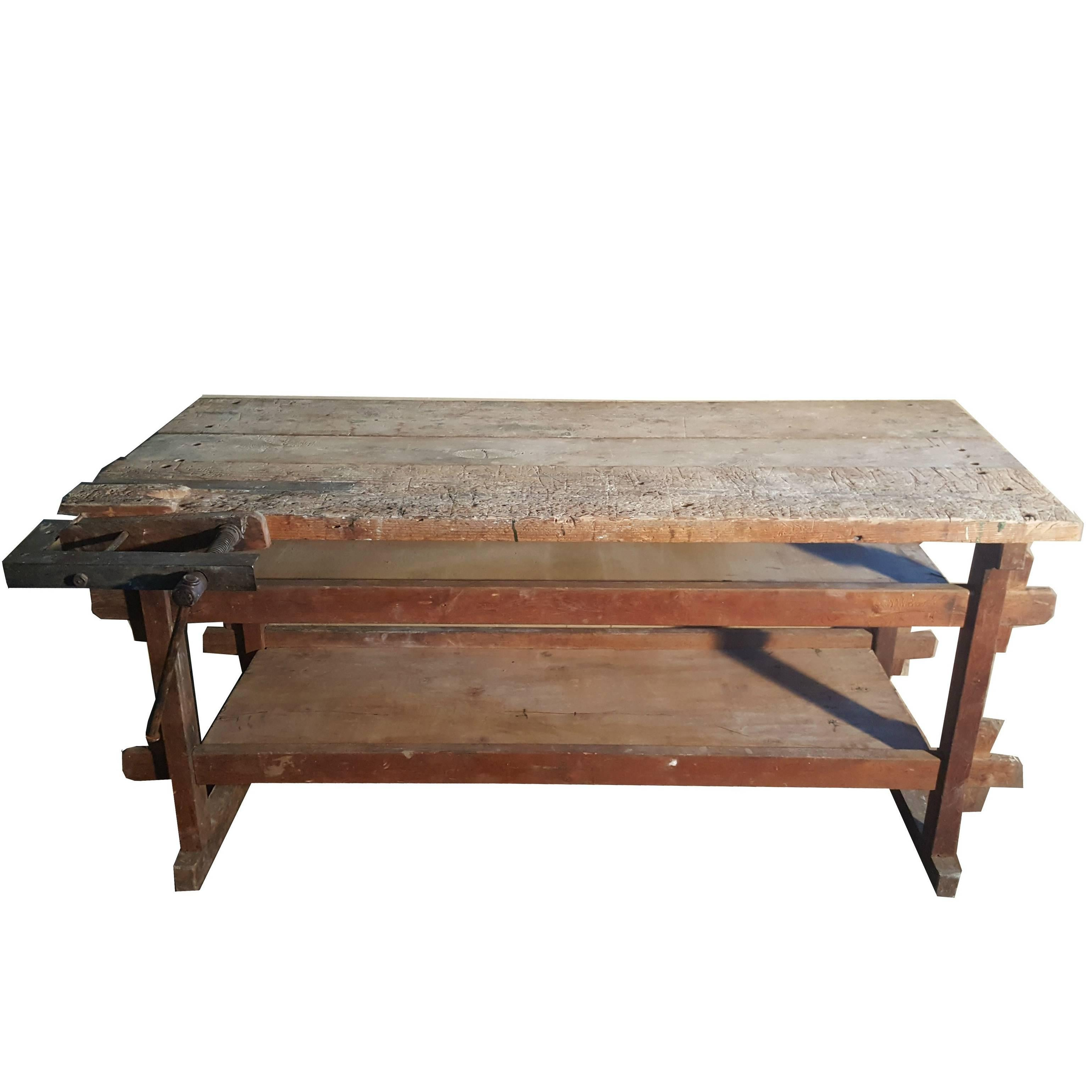 Vintage Industrial Wooden Work Bench Or Carpenters Table, Early 20th Century