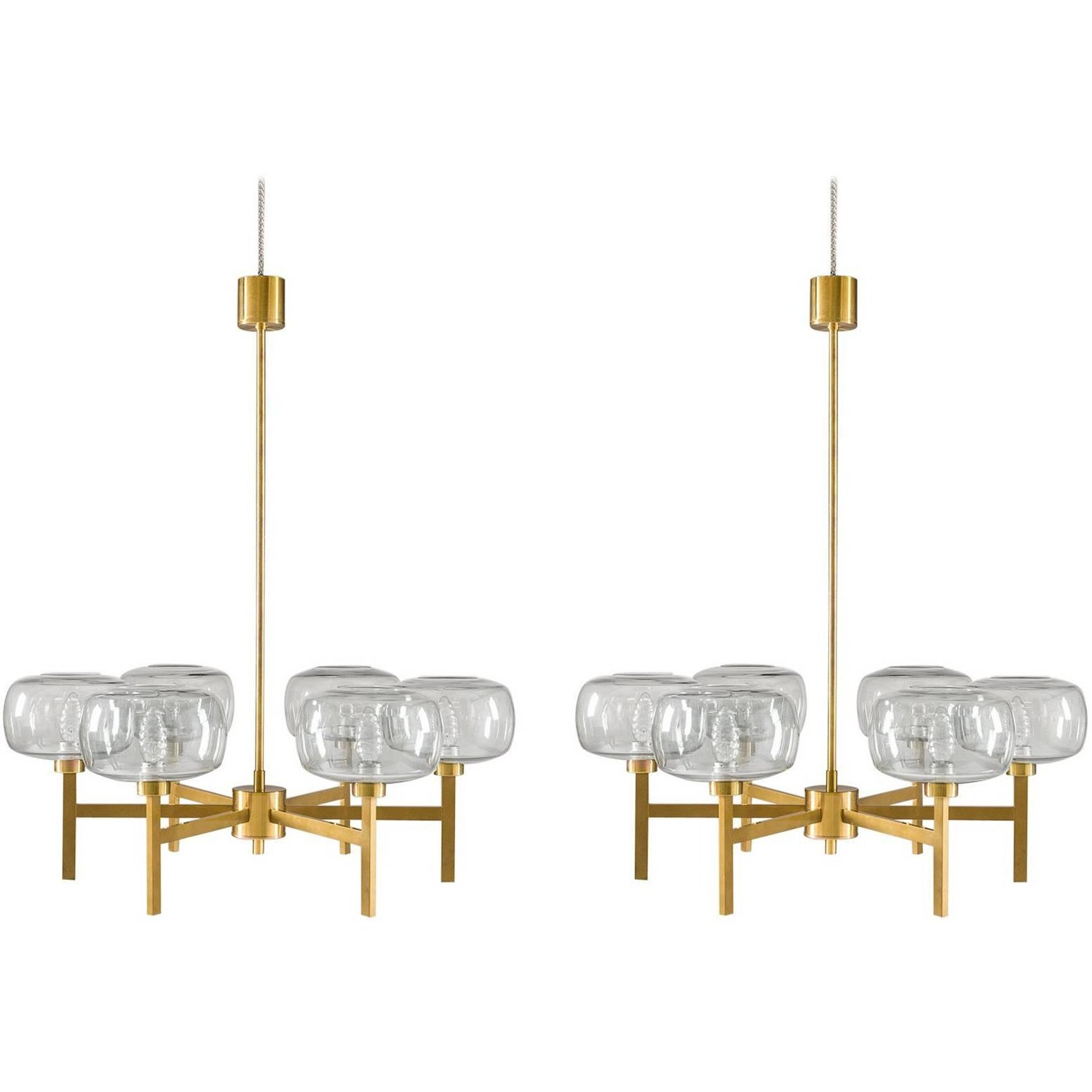 Eight large swedish chandeliers by holger johansson 1952 for sale large swedish chandelier in brass and glass by holger johansson mozeypictures Choice Image