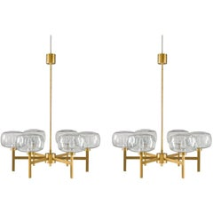 Large Swedish Chandelier in Brass and Glass by Holger Johansson