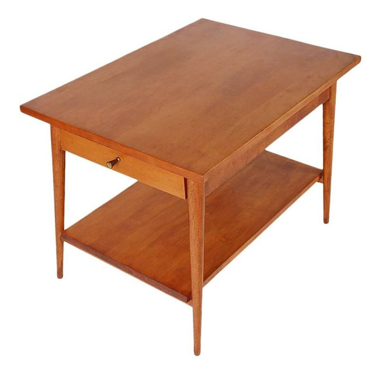 Mid-Century Modern Paul McCobb Two-Tier Side Table or Nightstand in Birch For Sale