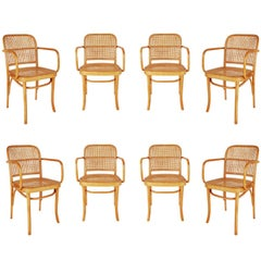 Set of Eight Mid-Century Modern Cane Dining Chairs after Josef Frank Thonet