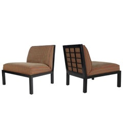 Midcentury Asian Modern Black Slipper Lounge Chairs by Michael Taylor for Baker