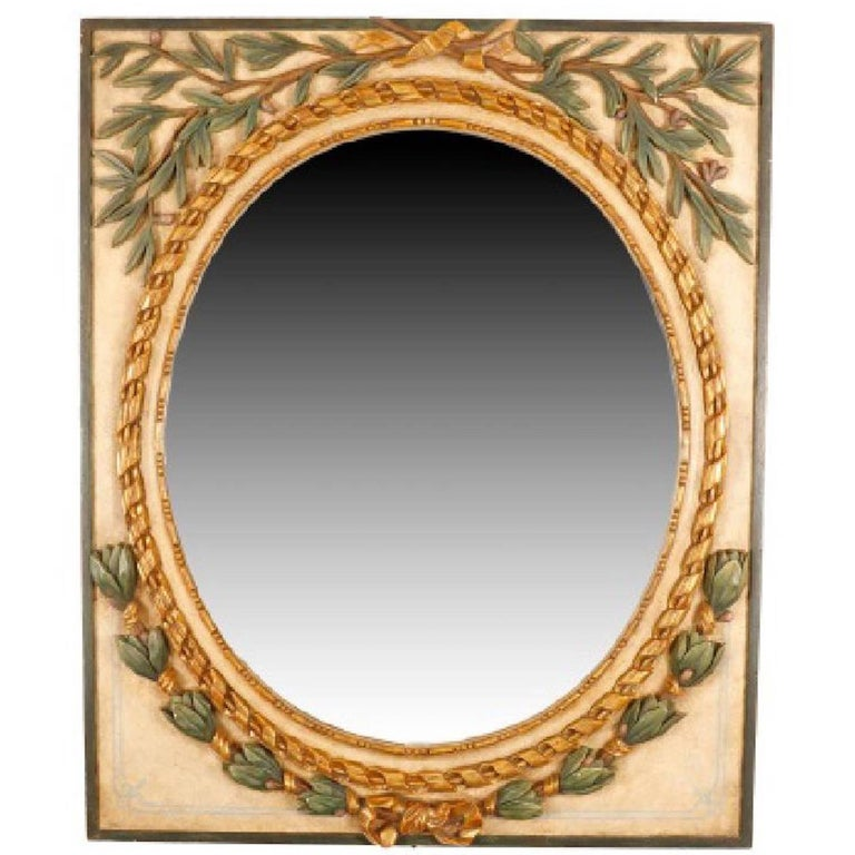 Neoclassical Carved Giltwood and Painted Mirror For Sale