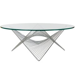 Mid-Century Modern Sculptural Geometric Chrome and Glass Round Cocktail Table