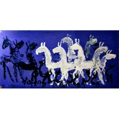 Large Impressive Abstract Painting of Horses on Blue by Purvis Young