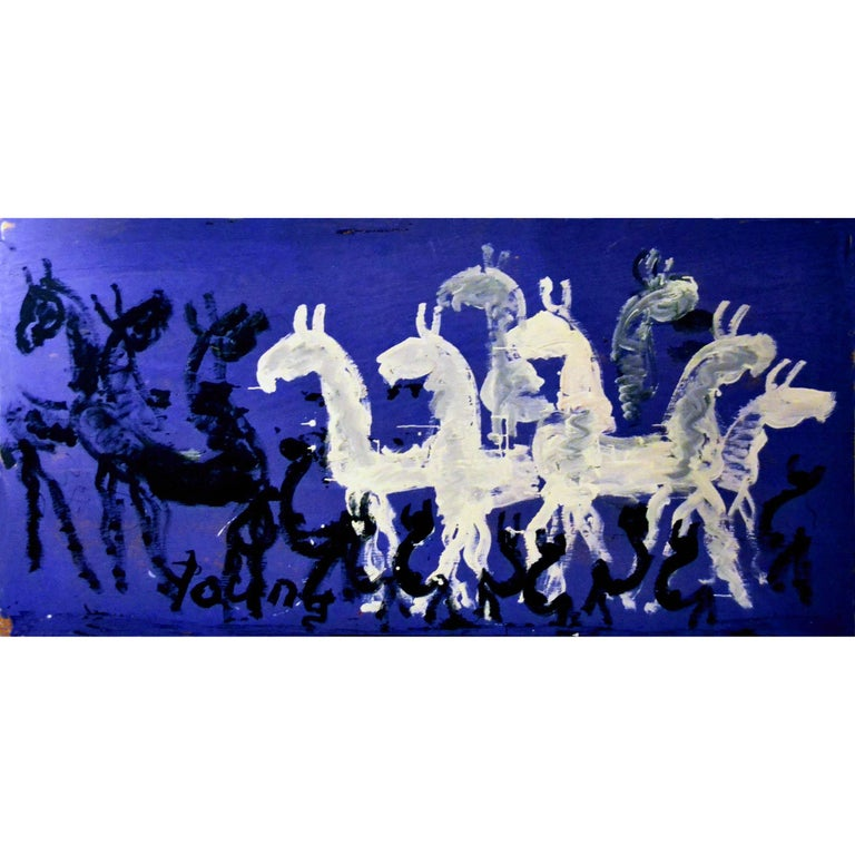 Large Impressive Abstract Painting of Horses on Blue by Purvis Young For Sale