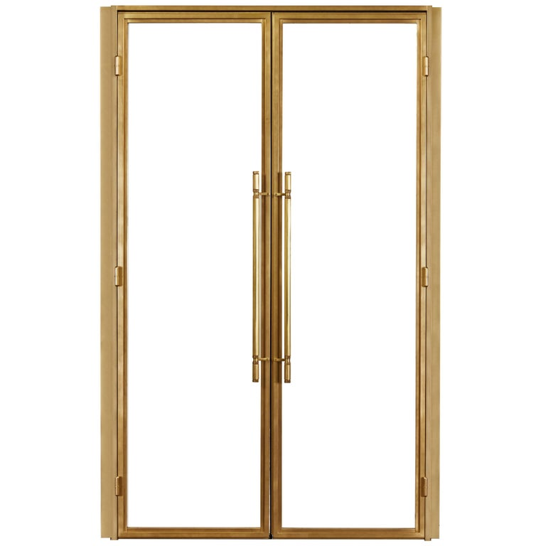 Amuneal bronze-and-glass Frankford door set, new