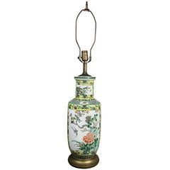 Chinese Famille Verte Rouleau Form Table Lamp