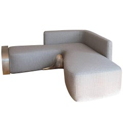 Handcrafted Moon Couch - handmade with silvered brass & handwoven Misia fabric