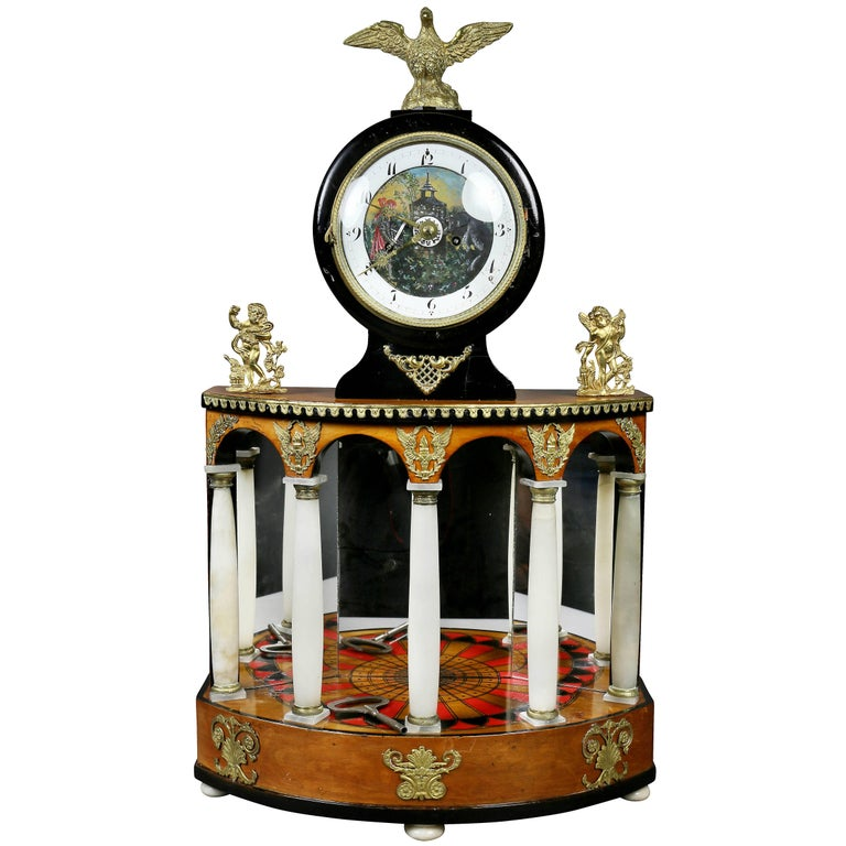 Biedermeier Pearwood and Bronze Mounted Mantle Clock