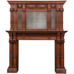 Large Antique Wooden Mantel