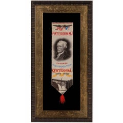 Alexander Hamilton Stevensgraph Ribbon, Made to Celebrate Paterson, NJ