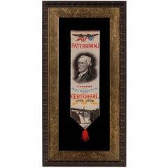 Alexander Hamilton Stevensgraph Ribbon, Made to Celebrate Paterson, NJ