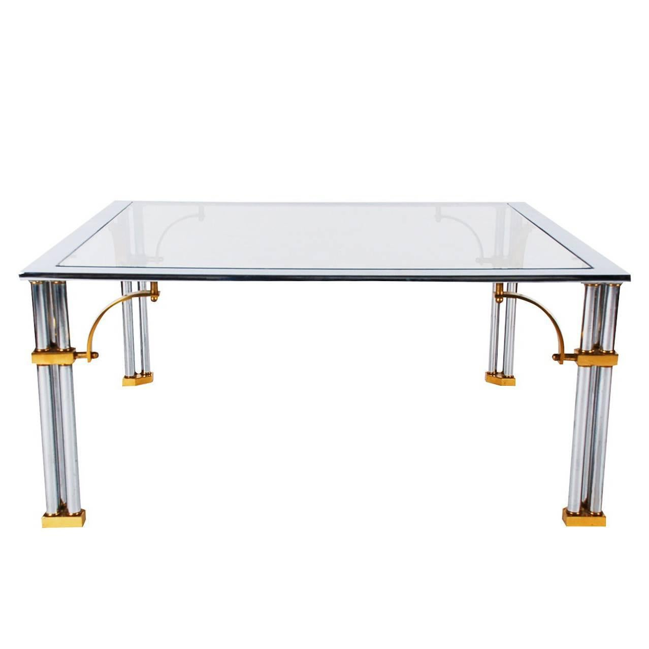 Hollywood Regency Brass, Chrome and Glass Square Cocktail Table, Maison Jansen