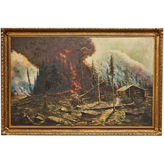 Enormous Forest Fire Painting in Original Gilt Frame, circa 1910s