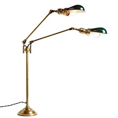 Double-Arm Faries Lamp No. 1792 with Nos Hubbell Reflector Shades, circa 1910s