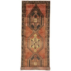 Vintage Turkish Oushak Runner with Modern Tribal Style