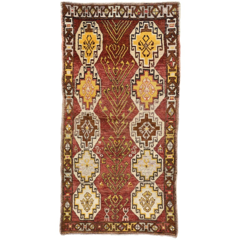 Vintage Turkish Oushak Runner with Modern Tribal Style, Gallery Rug 1