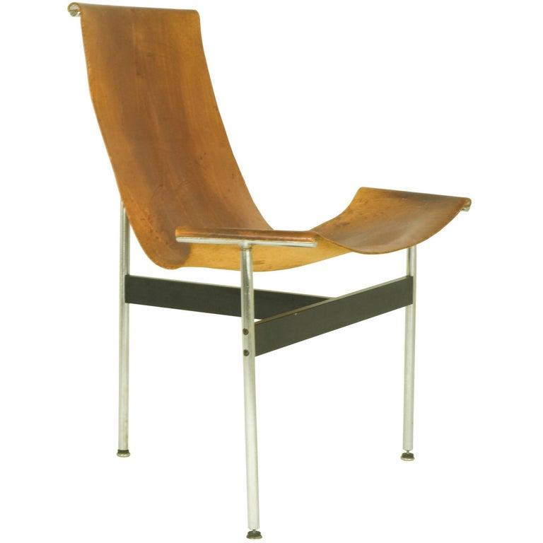 """Brown Leather and Chrome Metal 3LC """"T Chair"""", 1960s by D. Kelly & W. Katavolos"""