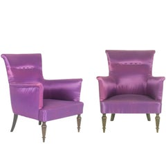 Violet Fabric Italian Armchairs from 1950s, Set of Two