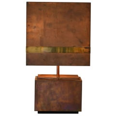 French Copper and Brass Table Lamp of the 1970s
