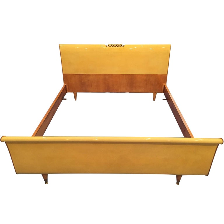 Mid-Century Modern Italian Parchment Bed frame, 1950s