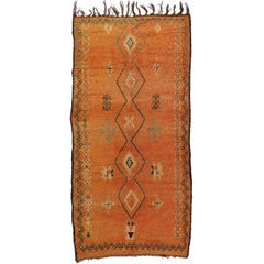 Vintage Berber Orange Moroccan Rug with Modern Tribal Style