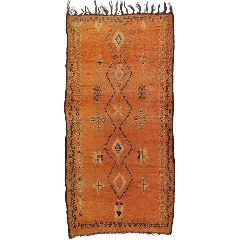 Vintage Berber Orange Moroccan Rug with Modern Tribal Style