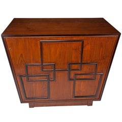 Art Deco Mahogany and Ebony Bar with Swivel Front