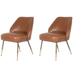 "Leather ""Campanula"" Chairs by Carlo Pagani for Arflex, 1952, Set of Two"