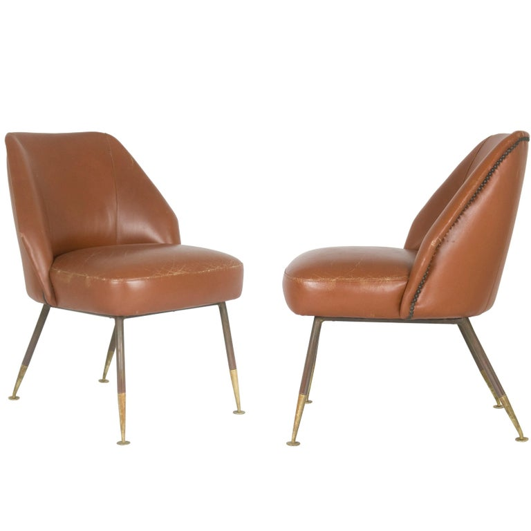 """Leather """"Campanula"""" Armchairs by Carlo Pagani for Arflex, 1952, Set of Two"""