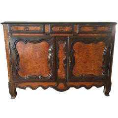 Louis XV Country French Carved Elm Sideboard, Early, 1800s