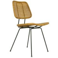 Midcentury Italian Iron and Rattan Chair