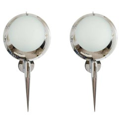 Pair of Chrome Circular Sconces with Frosted Glass Shades