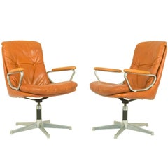 Gentilina Leather Armchairs by André Vandenbeuck for Strässle, 1960s, Set of Two