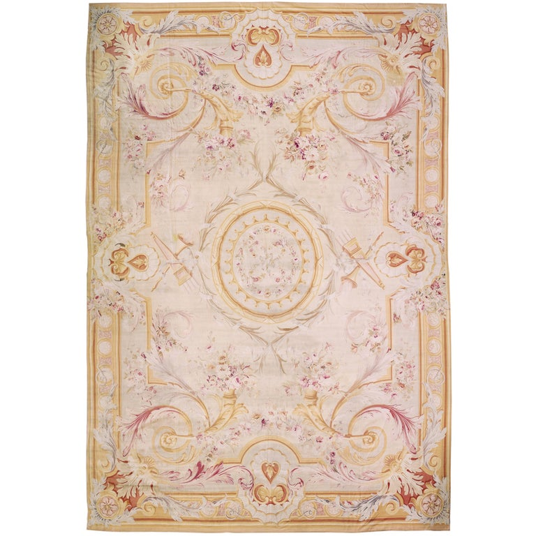 Antique Oversize French Aubusson Rug, circa 1890