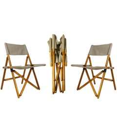 "Wood and Flax ""Navy"" Folding Chairs by Sergio Asti for Zanotta, 1969"