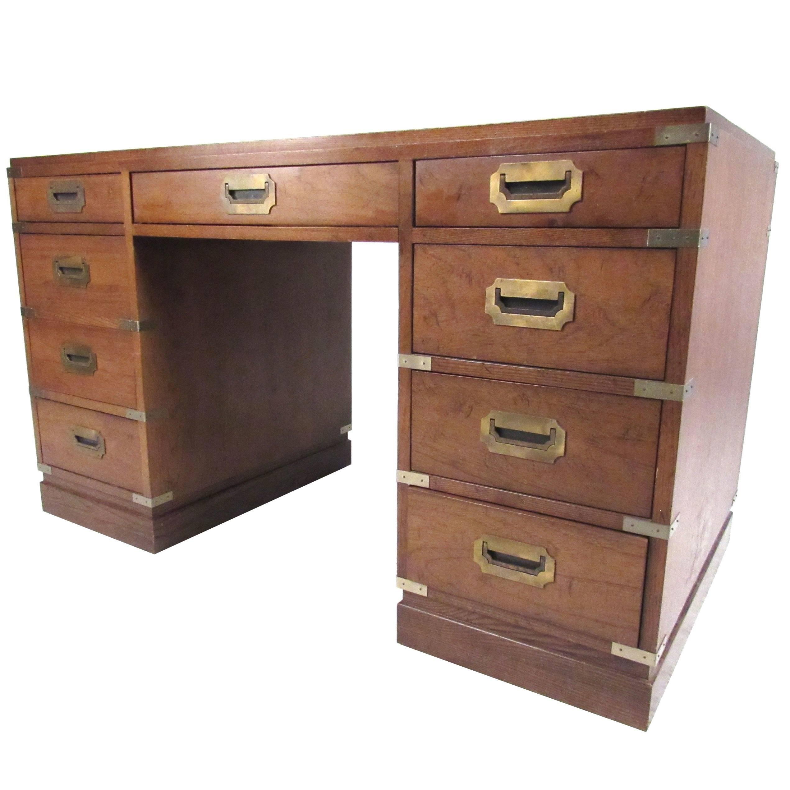 Vintage Campaign Desk By Sligh For Sale