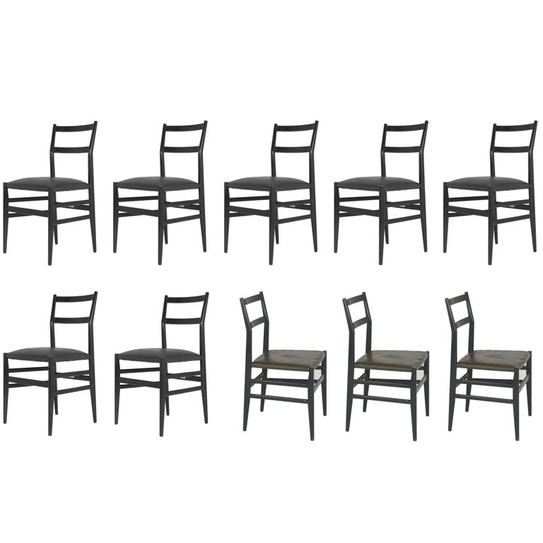 Lacquered Wood & Skai Leggera Chairs by Gio Ponti for Cassina, 1952, Set of Ten