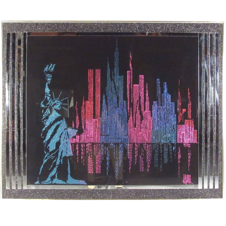 Vintage Modern Mirrored Cityscape Wall Art