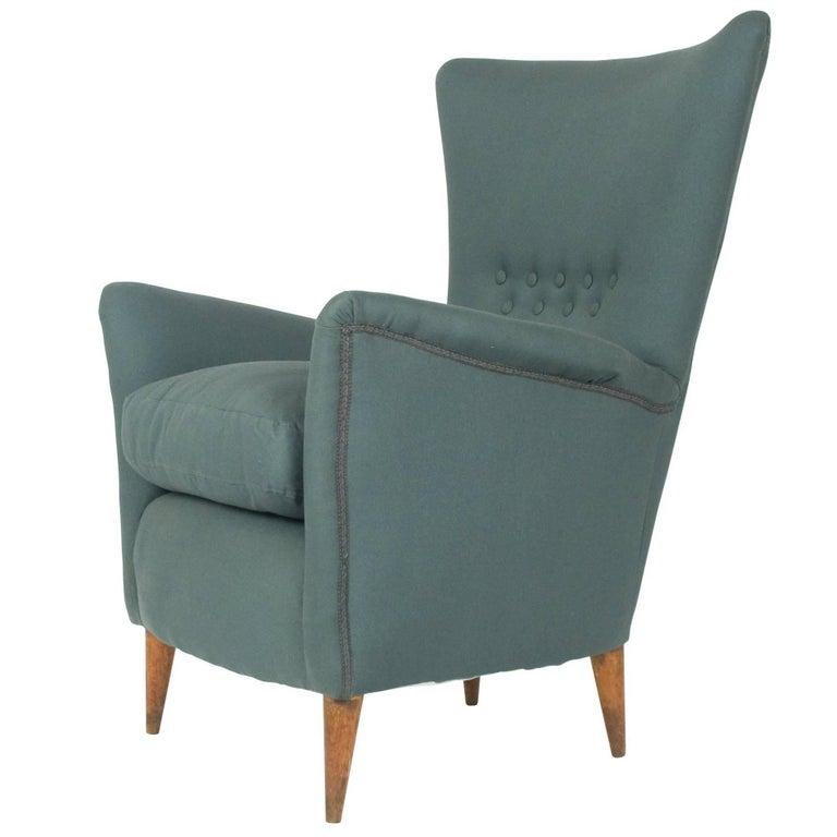 Grey Fabric 1950s Italian Armchair