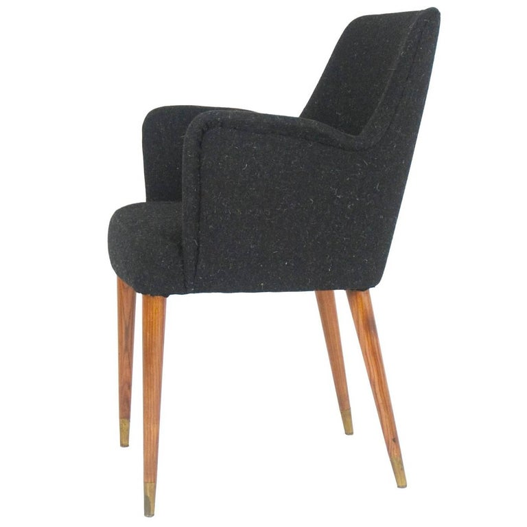 Black Wool P35 Armchair by Osvaldo Borsani for Atelier Borsani Varedo, 1950s