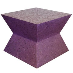 Carlo Rampazzi Italian Side Coffee Table Rolling Purple Geometric