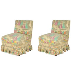 Italian Bedroom Side Chairs with Print by Gio Ponti for Jsa, 1948, Set of Two